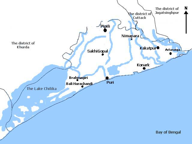 Location of Kakatpur within the district of Puri.